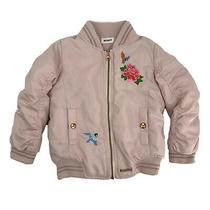 Hudson Girls Toddler Puffer Coat Size 3t Pink Embroidered Full Zip Snap Pockets Photo