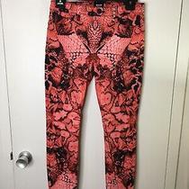 Hudson Jeans Coral Black Wild Pattern Size 29 Nico Super Skinny Midrise  Photo