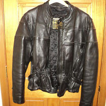 Hudson Leather Black Leather Motorcycle Jacket Size L Photo