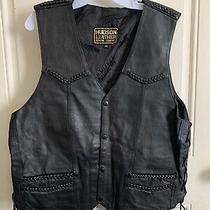 Hudson Leather Mens Leather Vest Concealed Carry Both Sides Xxl Biker Black Photo