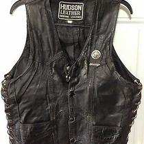 Hudson Leather Motorcycle Vest With Eagle and Heritage Pin Airbrushed Size 36 Photo
