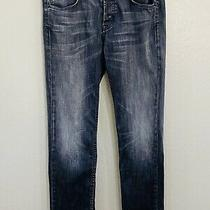 Hudson Mens Sz 33 Grey Washed Distressed Byron Flap Pockets Straight Leg Jeans Photo