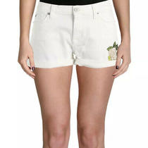 Hudson Mid Rise Asha Cuffed With Embroidered Flower White Denim Shorts 32 Nwt Photo