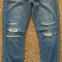 Hudson Nico Jeans Mid-Rise Ankle Skinny Destroyed Blue Denim Pants Women 27 Photo