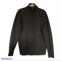 Hudson North Lambwool Blend Zip Up Dark Gray Men's Cardigan Jacket - Size Medium Photo
