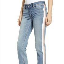 Hudson Nwt Wmn's. Nico Midrise Cigarette Pink/wht Stripes Jeans Sz. 24 Msrp 225 Photo