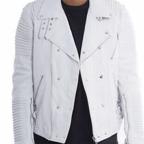 Hudson Outerwear Leather Lambskin Moto Ribbed Jacket White Sz Large Photo