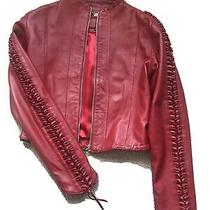 Hudson Outerwear Red Leather Jacket Size Xs Photo