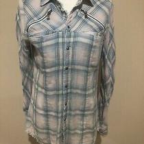 Hudson Plaid Frayed  Snap Front Womens Western Shirt M Photo