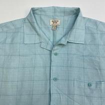 Hudson River Button Up Shirt Men's Size 2xl Xxl Short Sleeve Light Blue Check Photo