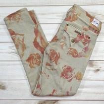 Hudson Rose Print Colin Skinny Crop Jeans Size 27 Photo