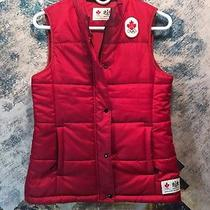Hudson's Bayco. Hbc Olympic Canada Womens Red Puffer Vest Full Zip With Snaps Photo