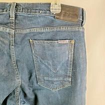 Hudson Sartor Slouchy Skinny Men Blue Jeans Sz 36x31 Distressed Dark Wash A19-03 Photo