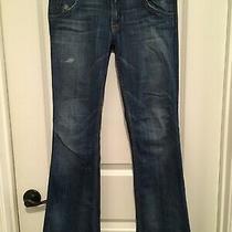 Hudson Signature Flap Bootcut Distressed Jeans Sz 27 Ins 31.5 Photo