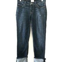 Hudson Women Muse Crop Skinny Cuff Distressed Dmos Denim Jean Pants Size 24  Photo