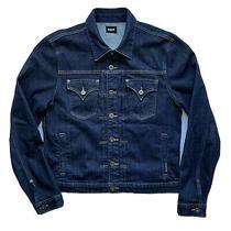 Hudson Womens Jean Jacket Trucker Denim Jacket Dark Blue Wash Size Large Photo