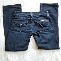 Hudson Women's Jeans Size 28 Flare Bell Bottom Wide Leg Dark Wash Blue Denim  Photo