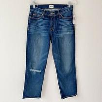 Hudson Womens Sz 29 Fallon Ankle Crop Distressed Knee Blue Jeans Whiskering Nwt Photo