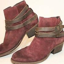 Hudson Womens 37 7 Burgundy Red Suede Leather Booties Heels Ankle Biker Boots Photo