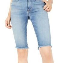Hudson Womens Amelia Denim Bermuda Knee Shorts Blue Size 27 Frayed Hem 155 897 Photo