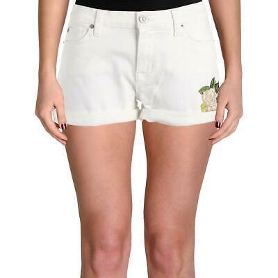 Hudson Womens Asha White Cuffed Mid-Rise Denim Shorts 24 BHFO 6875 Photo