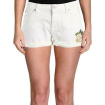 Hudson Womens Asha White Cuffed Mid-Rise Denim Shorts 26 Bhfo 6301 Photo