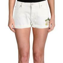 Hudson Womens Asha White Cuffed Mid-Rise Denim Shorts 32 Bhfo 7345 Photo