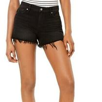 Hudson Womens Gemma Denim Shorts Black Size 25 Mid-Rise Frayed Hem 165 606 Photo
