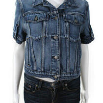 Hudson Womens Short Sleeve Button Up Denim Jacket Top Blue Size Xs Photo