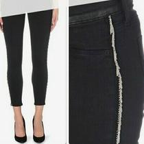Hudson Womens Skinny Jeans Black With Side Metal Chain Fringe W26 Photo