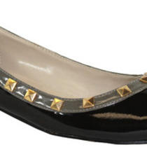 Hudson10 Lady Ballet Ballerina Flat Boat Slip-on Pointed Toe Metal Stud 2tone Pu Photo