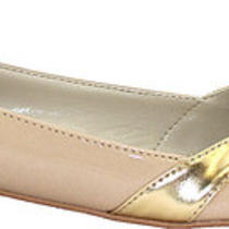 Hudson14 Lady Ballet Ballerina Flat Boat Slip-on Pointed Silver/gold v Tone Shoe Photo
