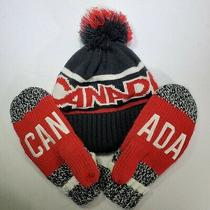 Hudsons Bay Team Canada Olympic Winter Games Red Fleece Lined Mittens and Beenie Photo