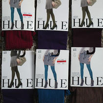 Hue 6 Pair Size 1 Control Top Ribbed and Super Opaque Control Top Tights New Photo