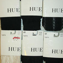 Hue 6 Pair Size M/l Black Cable Lacy Diamond Chiffon Floral Net Tights New Photo