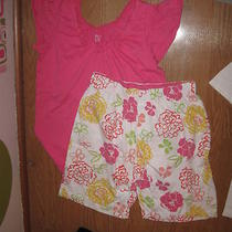 Hue Bright Pink Ss Stretch Top & White W/ Floral Shorts 2 Piece Pajama Set M Photo