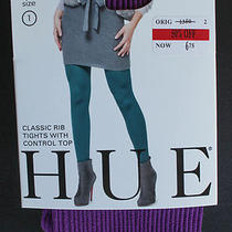Hue Classic Rib Tights With Control Top Concord Size 1 Photo