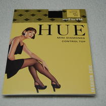 Hue Fashion Chic Control Top Mini Diamonds Pantyhose Size 1 Black New Photo