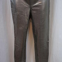 Hue Lacquer Leggings Sz S Metallic Pewter Full Length Skinny Pants   Photo