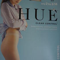 Hue Nylons Sz 2 Almost Black Control Top Sheer Leg Clear Control Tights Photo