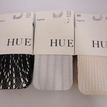 Hue Set of Three Fashion Net Tights (4) Black/chrome/chiffon M/l Nwt Photo