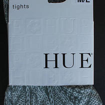 Hue Tights Fancy Cable Knit Printed Black Size M/l Nwt Photo