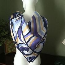 Huge Oscar De La Renta Silk Scarf With Swirls & Waves of Blues W Highlights Photo