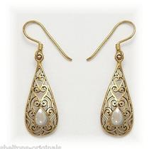 . Huge Sale  Filigree Earrings  Antique Reproduction  Gold & Mother-of-Pearl Photo
