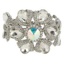Huge Wedding Flower Floral Bracelet Bangle Cuff Swarovski Crystal Photo