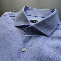 Hugo Boss Black Blue Pin Point Designer Sharp Fit Casual Dress Shirt Size 16 Photo