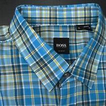 Hugo Boss Black Blue Plaid Designer Slim Fit Casual Dress Shirt Size Xl Photo