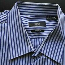 Hugo Boss Black Label Cotton Blue Stripe Designer Regular Fit Shirt Size 17 Photo