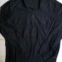 Hugo Boss Black Label Shadow Stripe Cotton L/s Sport Polo Shirt Xxl Black Nwot Photo