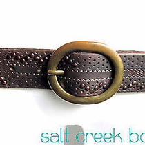 Hugo Boss Italy Brown Metal Studded Perforated Hole Leather Brass Buckle Belt 34 Photo